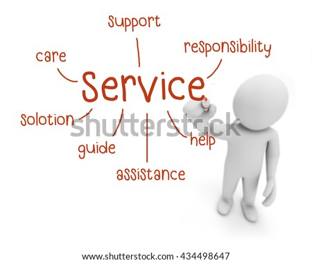 service red text ,business man writing service concept ,Man Explain the meaning of services , 3d rendering - stock photo