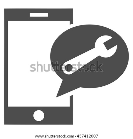 Service SMS glyph icon. Style is flat icon symbol, gray color, white background. - stock photo