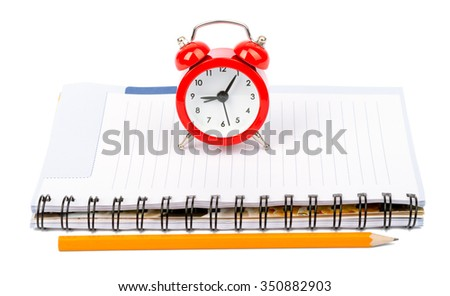 Service time while clock morning beginning pencil notebook on isolated white background - stock photo