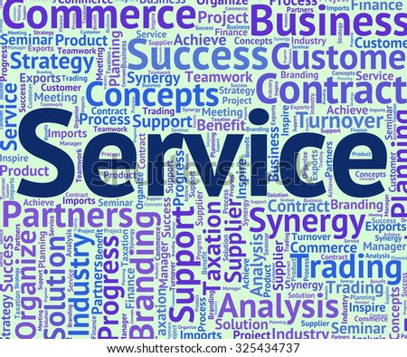 Service Word Indicating Help Desk And Wordclouds - stock photo