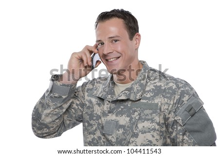 Serviceman on the Phone - stock photo