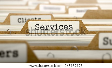 Services - text on Folder Register of Card Index. Selective Focus. - stock photo