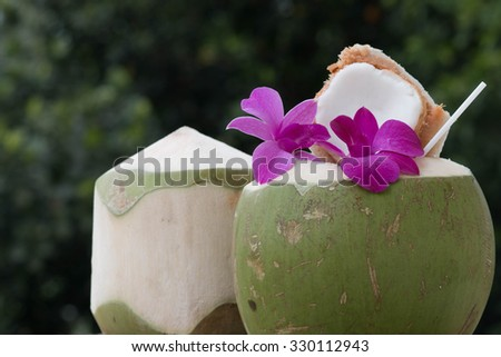 Serving coconut water, coconut cocktail orchid flower. - stock photo