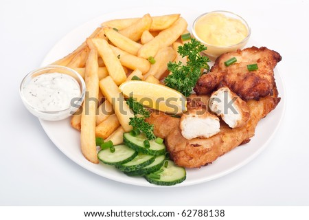 serving of fish and chips on white background - stock photo