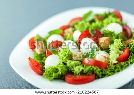 Serving of fresh leafy green salad with mozzarella pearls, tomato and fried golden crunchy croutons, close up low angle view with shallow dof - stock photo