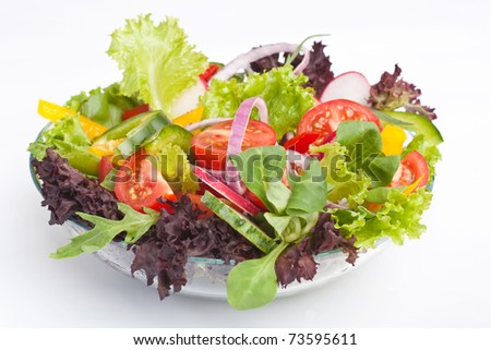 serving of healthy vegetables salad - stock photo