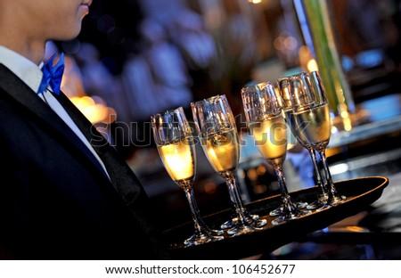 serving wine - stock photo