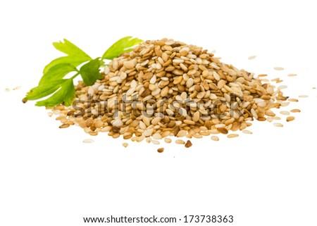 Sesam seeds isolated - stock photo