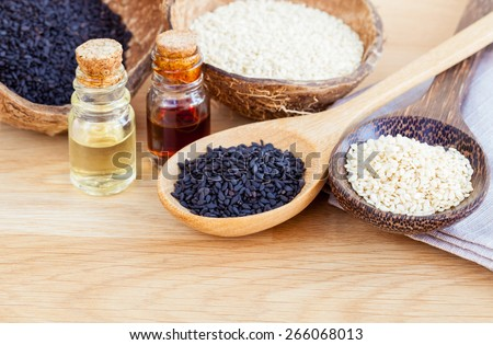 Sesame - Natural spa ingredients  for Scrub and  skin care. - stock photo