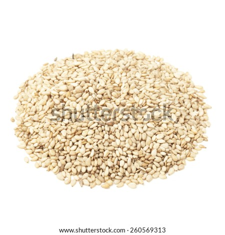 Sesame seeds  isolated on white - stock photo