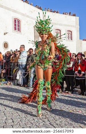 Sesimbra, Portugal. February 17, 2015: Brazilian Samba dancer called Passista in the Rio de Janeiro style Carnaval Parade. The Passista is one of the sexiest performers of this event - stock photo