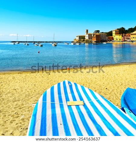 Sestri Levante silence bay or Baia del Silenzio sea harbor, boat and beach view on morning. Liguria, Italy. - stock photo