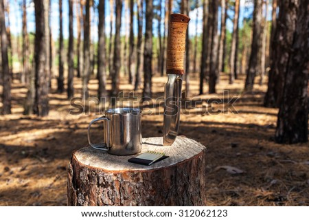 Set a tourist hunter knife mug cartridges gas burner matches - stock photo