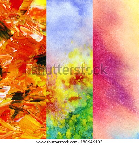 Set abstract artistic backgrounds, hand-draw painting: oil paints, watercolor and pastel - stock photo