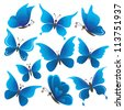 Set abstract blue butterflies with opened wings on white background - stock photo