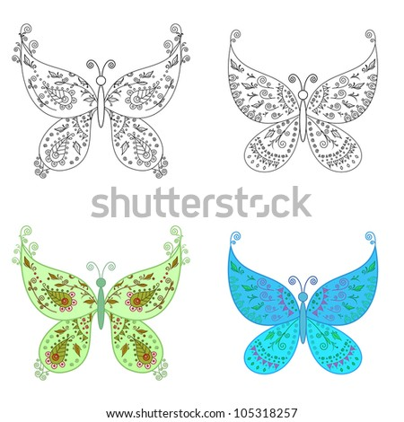 Set abstract butterflies: coloured with an abstract floral pattern and black contour on white background - stock photo