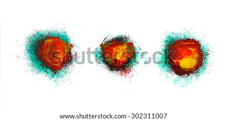 Set abstract hand painted backgrounds - stock photo