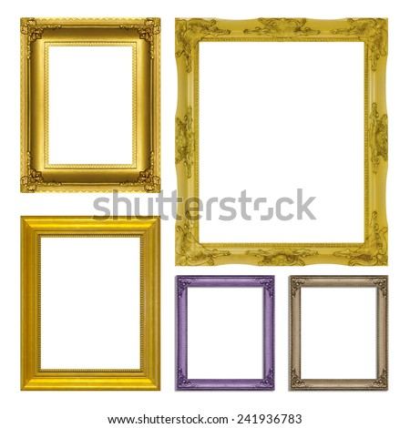 set antique gold frame isolated on  white background - stock photo