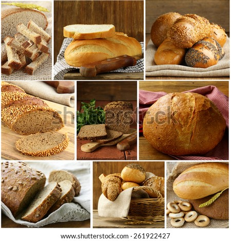 Set assortment of bread, rye and white - stock photo