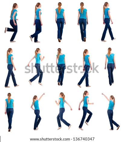 """set """"back view of walking and running  woman  in  jeans"""". blonde girl in motion.  backside view of person.  Rear view people collection. Isolated over white background. she rushes to meet someone - stock photo"""