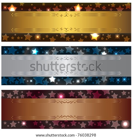 Set banners with bokeh stars and design elements. Similar image in vector format  in my portfolio. - stock photo