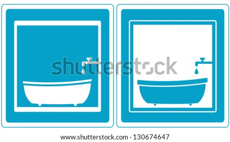 set bathroom icons with tap and tub - stock photo