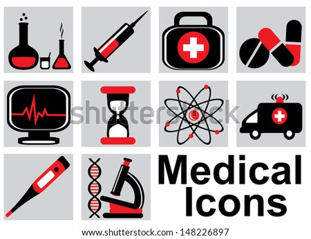 Set black and red medical icons on a light background - stock photo