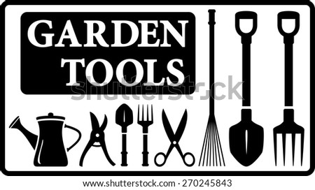 set black isolated garden tools silhouette collection in frame - stock photo