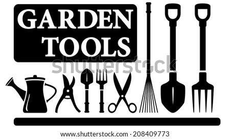 set black isolated gardening tools for landscaping design - stock photo
