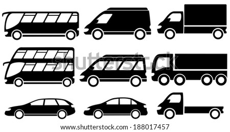 set black isolated transport icons for cargo or passenger services - stock photo