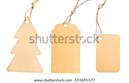 Set Blank tag tied with brown string isolated against a white background, clipping path - stock photo