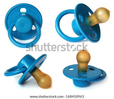 Set Blue baby's dummy isolated on white - stock photo