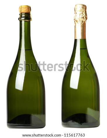 Set 2 bottles of wine with white and black labels isolated on white background - stock photo