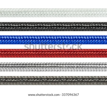Set braided textile cables (white, black, blue, red, silver, graphite),  isolated on white background - stock photo