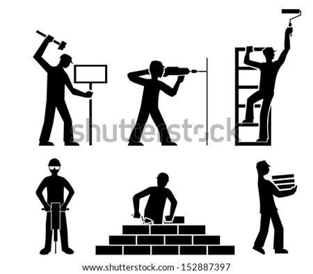 set builders outline - stock photo