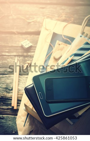 Set Business Men Black Beige Accessories Digital Gadgets Home Wooden Table Tablet Pc Phone Paper Different Stuff Stack Top View Toned - stock photo