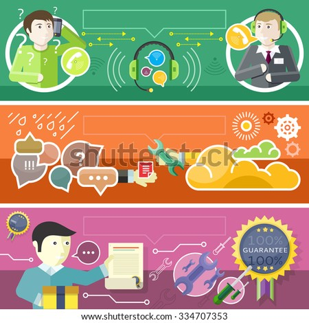Set call center technical support concept. Service support, maintenance guarantee, consultant and supply, answer and consultation, help communication, assistance client illustration. Raster version - stock photo