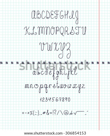 Set capital English handwriting font on paper. Font handmade. Letters, numbers, signs, symbols. The entire alphabet. Inline font. The script on the paper in the cage - stock photo