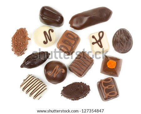 Set chocolate candies isolated on white background - stock photo