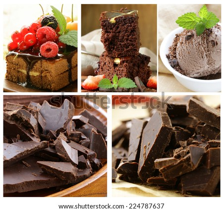 Set chocolate pastries - cake, brownie and ice cream - stock photo