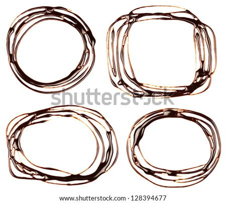 Set chocolate syrup drip, frame is isolated on a white background - stock photo