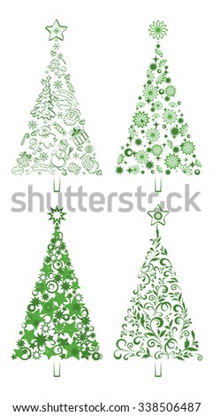 Set Christmas Holiday Trees with Patterns of the Silhouettes Cartoon Figures and Symbols and Floral Ornaments on White Background.  - stock photo