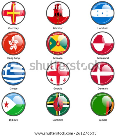 Set circle icon  Flags of world sovereign states.  illustration.  - stock photo