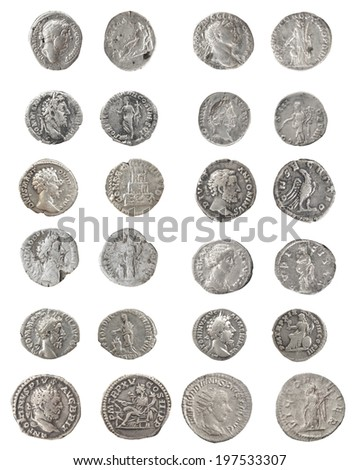 Set coin Old silver Roman denarius - stock photo