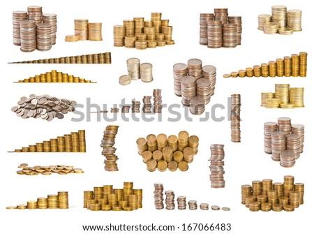 set coins on white background - stock photo