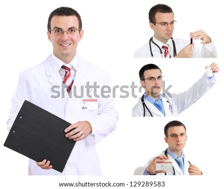 Set (collage) of young doctor in Hospital.Isolated over white - stock photo