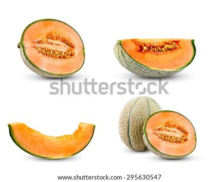 Set Collection of Cantaloupe Melon.  Isolated on white background - stock photo