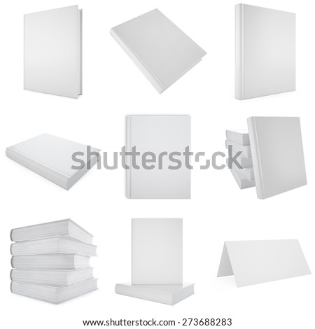 Set, collection white blank book. 3d illustration - stock photo