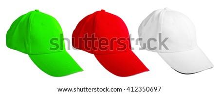 set colored baseball cap. isolated on white background - stock photo