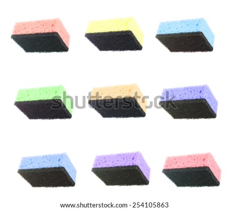 Set Colored Sponge for Washing Dishes Isolated on White Background - stock photo